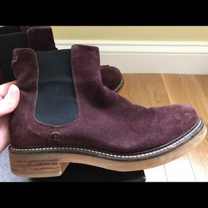Barneys New York Shoes - Barney's New York Suede Burgundy Chelsea Boots